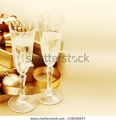golden christmas background champagne gifts ball #118028647