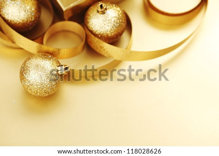 golden christmas background gifts ball