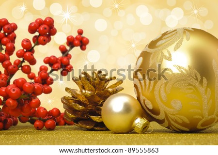 golden christmas ball as decoration