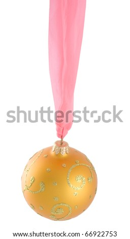 Golden Christmas ball hanging on a pink ribbon (isolated on white)