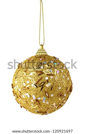 golden christmas ball isolated on white