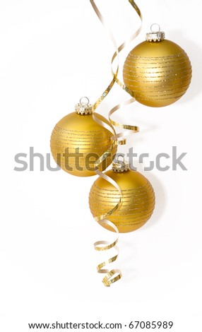 Golden christmas ball on white background