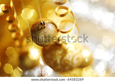 golden christmas balls - stock photo