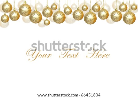 Golden Christmas balls decorations isolated on white background for message