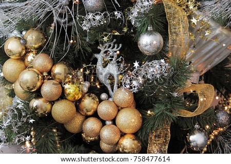 Golden christmas balls decorative silver reindeer tinsel
