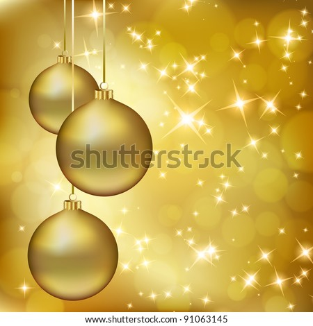 Golden Christmas balls on abstract gold background. Raster copy of vector illustration