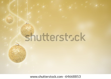 Golden Christmas baubles with stars