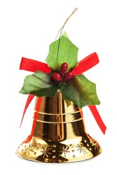 Golden Christmas bell isolated on white background close up macro