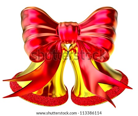 golden Christmas bell with red bow on white background