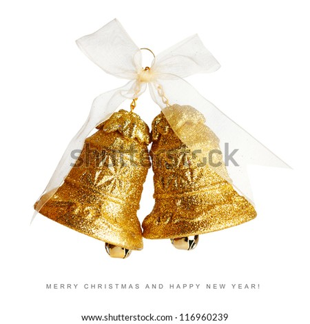Golden christmas bells with bow isolated on white background