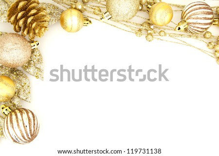 Golden Christmas border of baubles and shiny branches