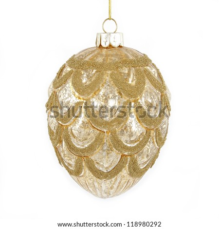 Golden christmas cone toy on white background