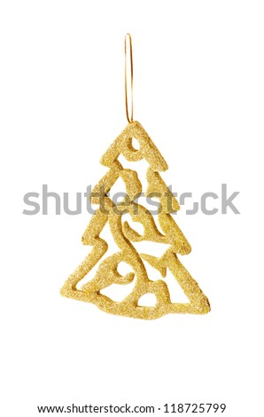 golden Christmas decoration for hanging on tree, isolated on white