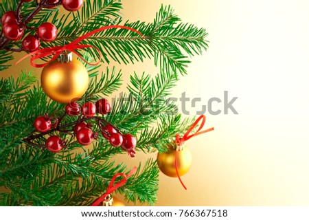 Golden Christmas decoration isolated on gold background #766367518