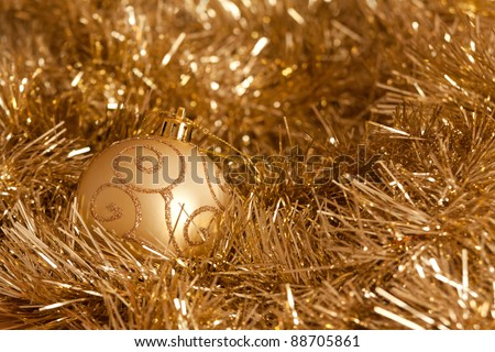 golden christmas decorations bauble and tinsel - Tinsel Christmas Decorations