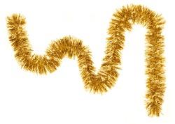 Golden Christmas garland against white background.