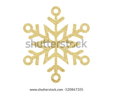 Golden Christmas snowflake isolated on white background #520867105