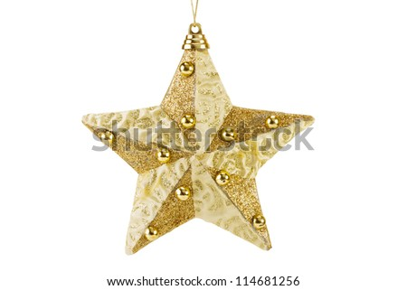 golden Christmas star decoration for hanging on tree, isolated on white
