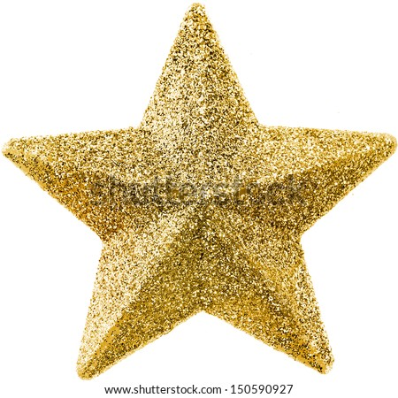 Golden Christmas star isolated on white background