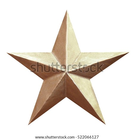 Golden Christmas Star isolated on white Background #522066127