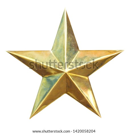 Golden Christmas Star isolated on white Background, clipping path. #1420058204