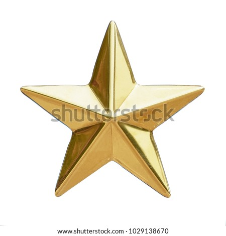 Golden Christmas Star isolated on white Background. Top View Close-Up Gold Star render (isolated on white and clipping path) #1029138670
