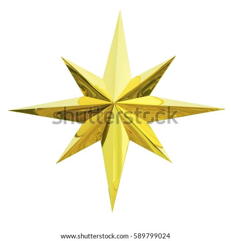 Golden Christmas Star isolated on white Background. Top View Close-Up Gold Star render (isolated on white and clipping path) #589799024
