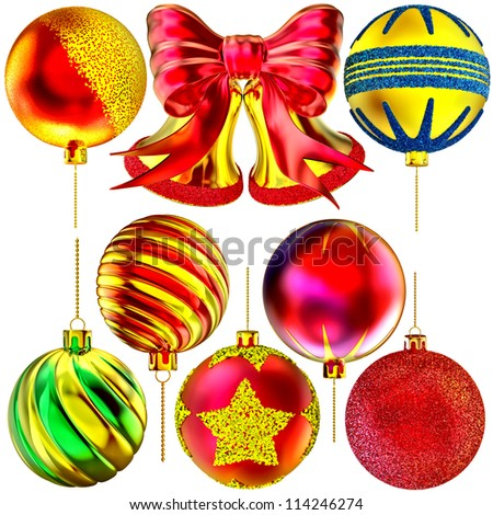 golden Christmas-tree bells with red bow and set of balls on white background
