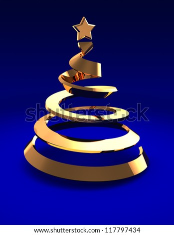 Golden christmas tree over blue background, 3d image