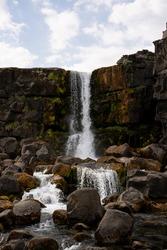 Golden Circle Oxarafoss Waterfall Landscape Thingvellir National Park.