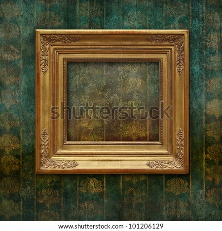 Golden classic frame on a faded and scratched Victorian floral texture