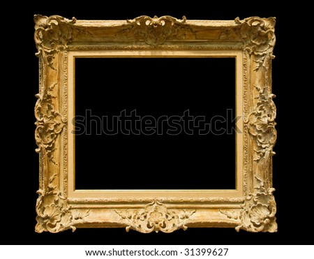 Golden classic picture frame - isolated on black background