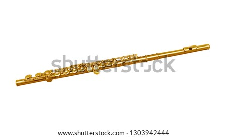 Golden classical musical instrument flute isolated on a white background. Music instruments series #1303942444