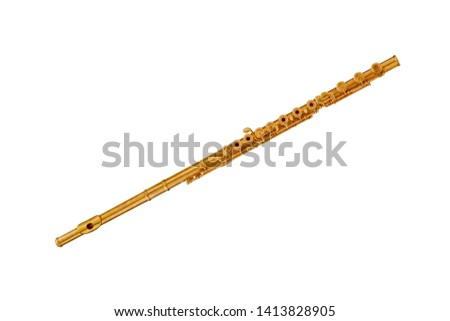 Golden classical musical instrument flute isolated on a white background. Music instruments series #1413828905