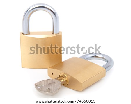 golden closed padlock with key - stock photo