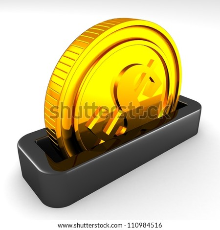 golden coin in the slot of a moneybox - stock photo