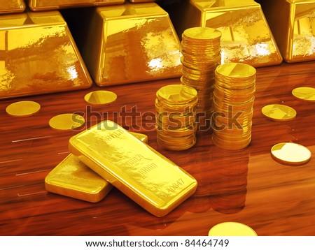 Golden coins and ingots , 3d illustration