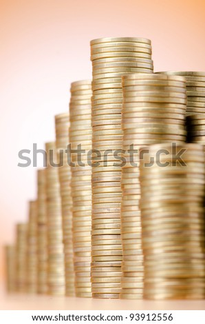 Golden coins in high stacks