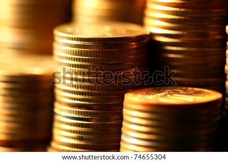 golden coins macro - stock photo