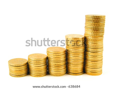 Golden coins piled up displaying a growing chart