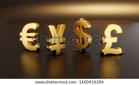 Golden color 3D currency symbols, currency icon. Euro, Yen, Dollar sign. Vector illustration.