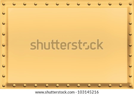 Golden colored metal plate, beveled, with chrome riveting along the edges. / Gold Sign Background Riveted Edges / Just add your own text, photo or painting.