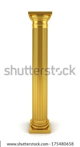 Golden column. 3d illustration on white background