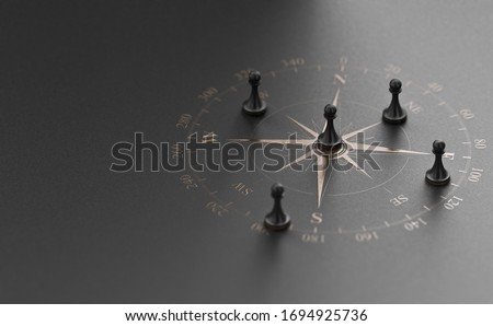 Golden compass rose over black background with five pawns. Business advice  or strategic marketing  concept. 3D illustration. Stock photo ©
