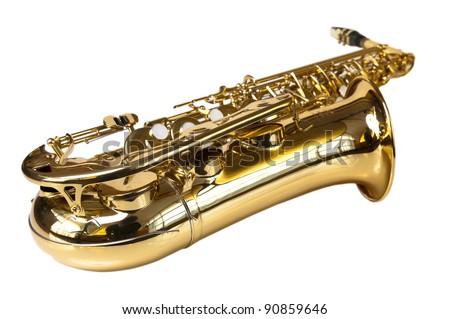 golden concert saxophone  isolated on white background - stock photo