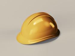 Golden Construction Helmet. 3D rendering