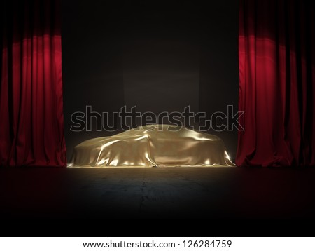 golden covered, New car presentation on show stage