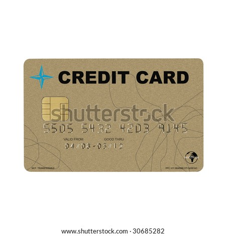 golden credit card isolated on white background, with clipping path
