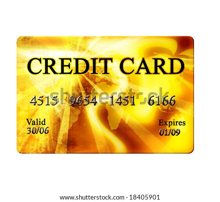 Golden credit card on a white background