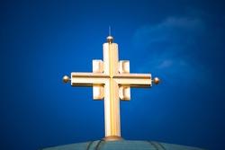 Golden cross on orthodox Temple of Saint Sava, Belgrade, Serbia